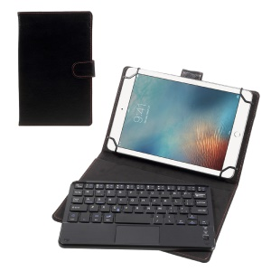 Touchpad Bluetooth Keyboard Leather Stand Case for 7-8 inch Tablet PC - Black