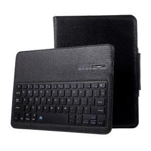Litchi PU Leather Detachable Bluetooth Keyboard Case with Stand for iPad 9.7-inch (2017) - Black