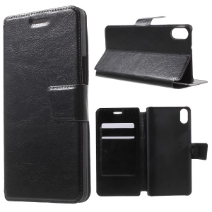 Crazy Horse Flip Leather Case Cover for BQ Aquaris X5 - Black