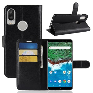 Litchi Texture Leather Stand Magnetic Wallet Protective Case for BQ Aquaris X2 / X2 Pro - Black