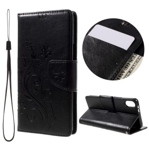 Flower Imprint Leather Wallet Stand Case for BQ Aquaris X5 with Wrist Strap - Black