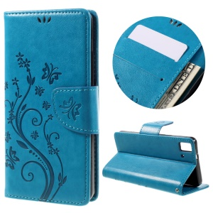Imprinted Flower Stand Leather Wallet Case Cover for BQ Aquaris E5 HD/FHD - Blue