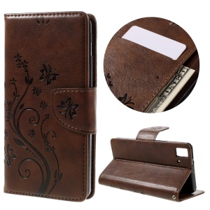 Imprinted Flower Stand Leather Wallet Phone Case for BQ Aquaris E5 HD/FHD - Coffee