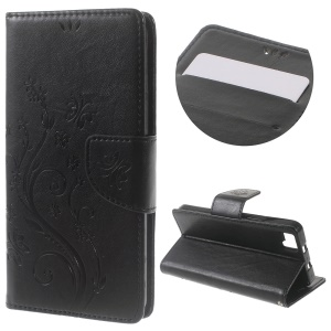 Floral Butterfly Leather Case with Wrist Strap for BQ Aquaris M5 5.0-inch - Black