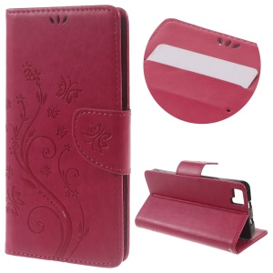 Floral Butterfly Wallet Leather Case Cover for BQ Aquaris M5 5.0-inch - Rose