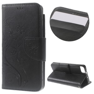 Imprint Flower Wallet Stand Leather Case for BQ Aquaris M4.5 - Black