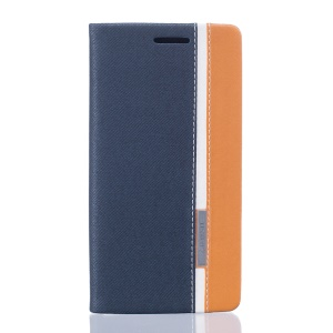 Two-color PU Leather Stand Case for BQ Aquaris E5s - Dark Blue