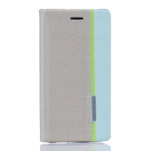 Two-color Leather Stand Cover for BQ Aquaris X5 - Grey