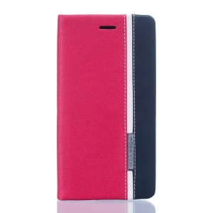 Two-color Leather Card Holder Case for BQ Aquaris X5 - Rose