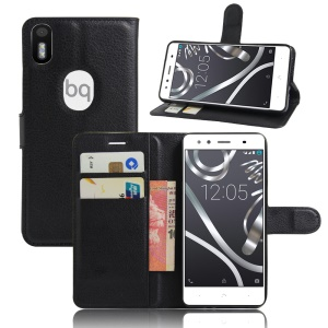 Litchi Skin Leather Wallet Case for BQ Aquaris X5 Plus - Black