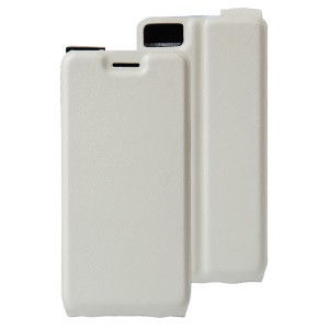 Crazy Horse Vertical Leather Card Holder Cover for BQ Aquaris A4.5 - White