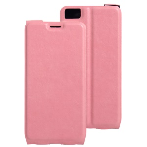 Crazy Horse Leather Vertical Case with Card Slot for BQ Aquaris M5.5 - Pink