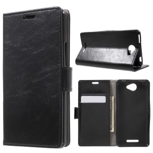 Crazy Horse Leather Wallet Stand Case for BQ Aquaris U/U Lite - Black
