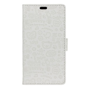 Cartoon Graffiti Wallet Stand Leather Flip Cover for BQ Aquaris U Plus - White