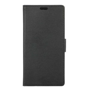 Magnetic Stand Leather Wallet Phone Case for BQ U Plus - Black