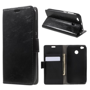 Crazy Horse Texture Leather Wallet Stand Cell Phone Case for BQ Aquaris X / X Pro - Black