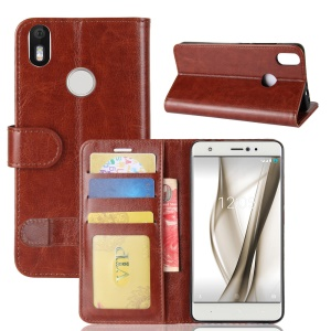 Crazy Horse Skin Wallet Foldable Leather Shell Case for BQ Aquaris X / X Pro - Brown