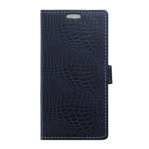 Crocodile Texture Wallet PU Leather Stand Phone Case for Wiko Lenny2 - Dark Blue