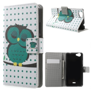Card Holder Leather Stand Cover for Wiko Rainbow Jam - Dozing Owl