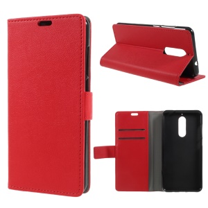 PU Leather Wallet Stand Phone Case for Wiko View XL - Red