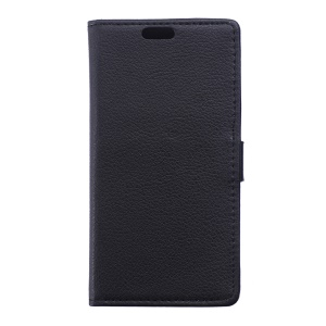 Litchi Skin Leather Wallet Case for Wiko Sunset2 - Black