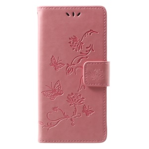 Imprint Butterfly Flower Leather Wallet Mobile Casing for Wiko Lenny 4 - Pink