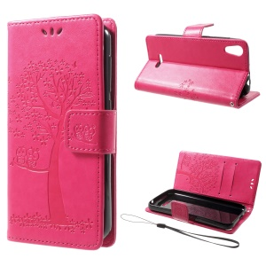 Imprint Tree Owl Magnetic Wallet PU Leather Stand Cover for Wiko Lenny 4 - Rose