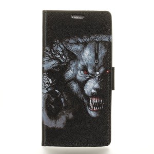 Pattern Printing PU Leather Wallet Stand Protective Phone Shell for Wiko View Prime - Grey Wolf