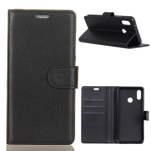Litchi Texture Wallet Stand Leather Case for Wiko View2 - Black