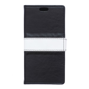 Crazy Horse Contrast Color Leather Wallet Case for Wiko Rainbow Jam - Black