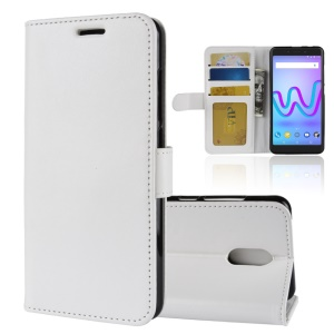 Crazy Horse Wallet Leather Stand Cover for Wiko Jerry 3 - White