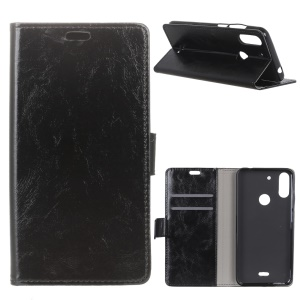 Crazy Horse Wallet Leather Stand Case for Wiko View2 Plus - Black