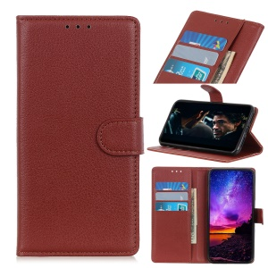 Litchi Skin Wallet Leather Stand Case for WIKO VIEW 3 - Brown