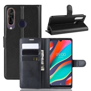 Litchi Skin Wallet Leather Stand Case for Wiko View3 Pro - Black