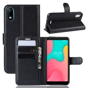 Litchi Skin Wallet Leather Stand Phone Shell Case for Wiko Y60 - Black