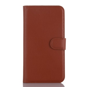Litchi Grain Wallet Leather Case for Wiko Pulp Fab 4G with Stand - Brown