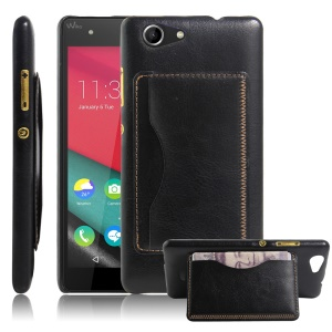 Leather Coated Kickstand Phone Case for Wiko Pulp 4G with Card Slot - Black