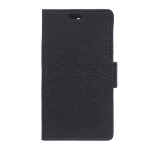 Card Holder Stand Leather Phone Case Cover for Wiko Pulp 4G - Black