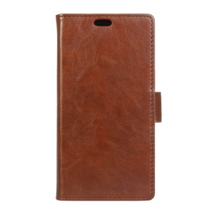 Crazy Horse Leather Wallet Case for Wiko Fever 4G - Brown