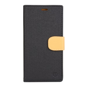 Leather Card Holder Phone Case for Wiko Lenny2 with Stand - Black