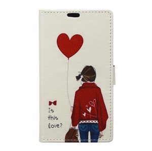 Wallet Leather Stand Case for Wiko Rainbow Lite 4G - Adorable Girl & Heart Shaped Balloon
