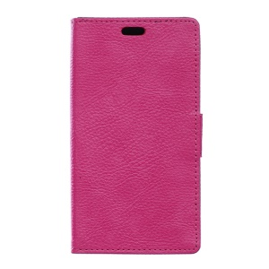 Litchi Skin Leather Wallet Cover Case for Wiko Rainbow Lite 4G - Rose
