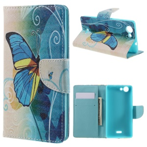 Wallet Leather Stand Cover Case for Wiko Pulp - Blue Butterflies