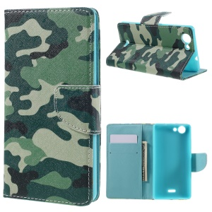 Wallet Leather Stand Case for Wiko Pulp - Camouflage Pattern
