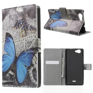 Leather Wallet Stand Case for Wiko Pulp - Blue Butterfly