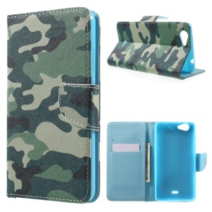 Wallet Leather Stand Case for Wiko Pulp Fab 4G - Camouflage Pattern