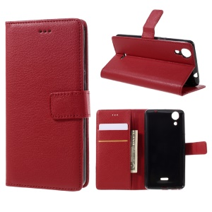 Litchi Texture Magnetic Flip Leather Cover for Wiko Rainbow Lite 4G - Red