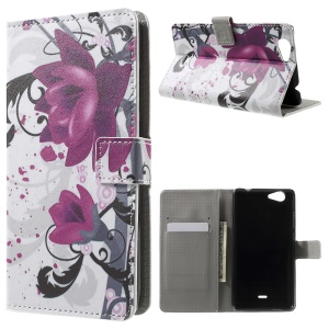 Patterned Wallet Leather Cover for Wiko Pulp FAB 4G - Purple Flower
