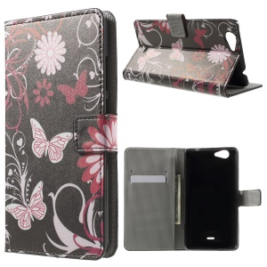 Patterned Wallet Leather Case for Wiko Pulp FAB 4G - Butterfly and Flower