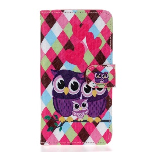 Wallet Leather Stand Case for Wiko Lenny2 - Checks and Owls